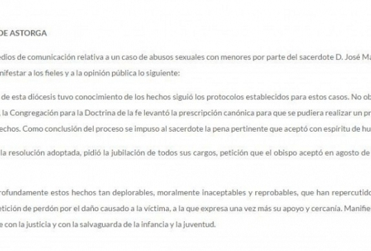 Comunicado del Obispado de Astorga